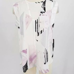 Vince Camuto Top Women Medium Sheer Abstract Geome